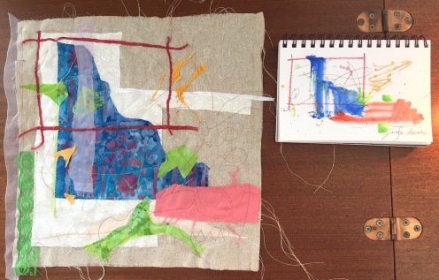 Collage based on Abstract Painting. Awaits hand-stitching.