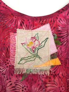 Embroidered image extracted from larger drawing. Applied to a sundress.